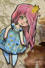 Lil Princess - OOAK articulated paper doll (The Girl with the Flaxen Hair) Tags: natidraws papergoods paperdoll handmade homemade handpainted kawaii cute ooak pinkhair animemanga bluedress craft doll articulatedpaperdoll etsy etsyseller etsyshop