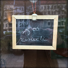 back at 1500 (piktorio) Tags: berlin germany window chalk handwriting reflection facade street detail typo