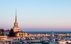 Evening Sochi Sea Port (DVchigarev) Tags: marine digital sochi canon canon70d april spring sea station port yachts 24105l sky architecture horizont sunset