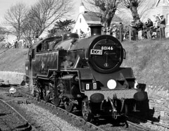 80146 at Swanage in monochrome (davids pix) Tags: 80146 british railways riddles standard tank preserved steam railway locomotive swanage station 2017 02042017