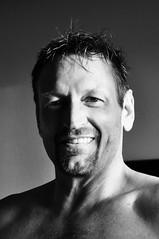 Portrait (Blue Rave) Tags: 2017 bloke dude guy male mate people bw blackandwhite halffaceportraits halfface half shadow smile smiling portrait goatee handsome face closeup sexy barechest shirtless greatsmiles
