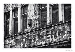Northern (Seven_Wishes) Tags: newcastleupontyne canoneos5dmarkiv canonef24105mmf4lisii photoborder outdoor kc hm worswickstreet northern rot decay weathered crusty flakypaint blistered textures alarm windows dirty extractorfan mono monochrome bw blackandwhite reflections