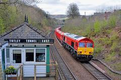 DB - Dazlingly Bright (whosoever2) Tags: england unitedkingdom uk gb greatbritain nikon d7100 april 2017 railway railroad train dbs dbcargo class66 66066 6z45 totley tunnel signal box