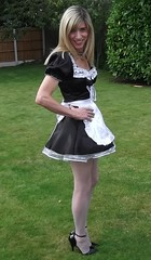 Just spiking the lawn !!! lol. 13th September 2015 (paula_1558) Tags: french maid high heels stockings costume