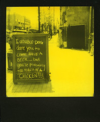 Double Dog Dare! (thereisnocat) Tags: impossibleproject thirdmanedition yellow sign bar beer chicken atlantichighlands monmouthcounty newjersey nj