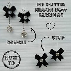 How to make DIY glitter ribbon bow stud and dangle earrings 20 (DIY Empress) Tags: earrings diy diyearrings pretty happy fashion beauty beautiful love style girl good cute gifts diys tutorial howto creative inspiration bow glitter shimmer earringfashion