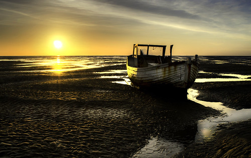 Beached (16529740@N02), photography tags:  ocean sunset sea beach coast boat wirral meols