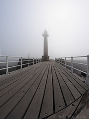 Whitby pier (D4291165 E-M1 8mm iso200 f8 1_3200s -1ev) (Mel Stephens) Tags: uk light england fog coast pier spring harbour yorkshire north olympus structure fisheye coastal whitby april 8mm zuiko 43 omd haar 2014 em1 wgw m43 fourthirds mirrorless mmf3 microfourthirds 201404 20140429