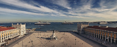 Lisboa, Queens (António Alfarroba) Tags: panorama lisboa lisbon panoramic tejo queenmary2 cunard queenvictoria tagus queenelizabeth panoramique panorâmica praçadocomércio terreirodopaço
