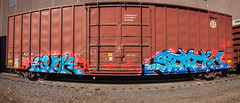 SILK STATIC (TheLost&Found) Tags: art minnesota train bench graffiti spring pano united silk minneapolis panoramic tc static boxcar twincities graff uc freight bnsf crushers unitedcrushers urbancelebs