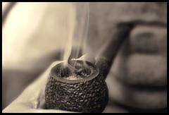 Smoking (Rafa N.) Tags: smoke pipe smoking held smoker tobacco pipesmoker rustifcated pipeinmouth