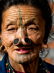 Apatani lady with nose plugs (rob of rochdale) Tags: woman india indian ngc culture tribal tattoos tribe cultural arunachalpradesh ziro noseplugs robofrochdale