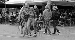 They must be brothers (Just Ard) Tags: street boy 2 two urban bw white black boys netherlands amsterdam photography nikon couple candid pair streetphotography bags nl headlock grasp d7000 justard