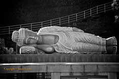 The death of the Buddha (James Kemlo (Junpei Hayakawa)) Tags: blackandwhite statue japan buddha magic faith religion belief kanagawa superstition supernatural nehan ©jameskemlo ©junpeihayakawa
