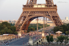 Base of the Eiffel Tower and people
