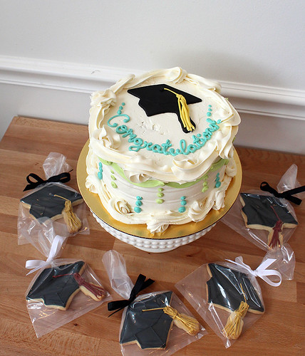 graduation gourmet cake decorated sugar cookies