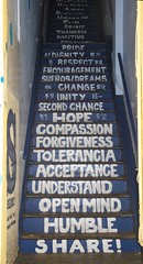 #Calligraphy: Steps to Living a Good Life (Kevin MG) Tags: ca blue usa hope words losangeles goodness downtown secondchance unity steps compassion tolerance calligraphy wisdom share humble openmind acceptance forgiveness understand flickrfriday