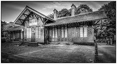 Matlock Bath station (G. Postlethwaite esq.) Tags: blackandwhite monochrome station derbyshire july railway hdr 2014 matlockbath photomatix bwhdr topazdetail topazclarity mergeto32bit