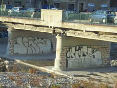 165 (en-ri) Tags: dias crew roi 2012 bianco nero mattoni genova zena wall muro graffiti writing piloni