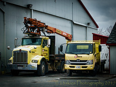 Two Yellow Trucks (HTT) (13skies) Tags: happytruckthursday thursday yellow htt trucking truck yellowtruck homehardware driving sonya57 smallcrane lifting loading work delivery supplies wood