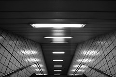 Underground space(-ship) (Elios.k) Tags: horizontal indoors nopeople interior abstract stairs lights wall perspective underground metro subway exit jongno travel travelling august 2016 summer vacation canon 5dmkii camera photography blackandwhite monochrome bw transportation seoul korea southkorea asia