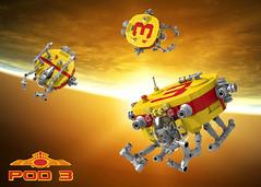 POD 3 (David Roberts 01341) Tags: lego ldd povray convertor spaceship pod minfigure tug colourful red yellow scifi space