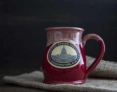 Mug (proartwork) Tags: canon6d canon2470mm mug red burlap moody dark