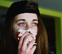 Nose bleeds (Ari J) Tags: portrait girl blood nikon eyes blue friends art people green