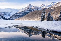 Winter Sunshine Reflected (Kristin Repsher) Tags: alberta banff banffnationalpark canada canadianrockies d750 lakelouise mountains nikon reflection rockies rockymountains snow winter
