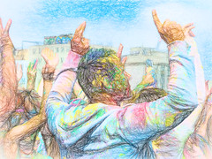 The Colourful Holi Festival (Steve Taylor (Photography)) Tags: art digital colourful people man newzealand nz southisland canterbury christchurch cbd city texture colours festival holi holifestival powder handsup