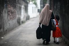 EPHEMERALITY (N A Y E E M) Tags: mother daughter burqa schooldress uniform neighbours lateafternoon street rabiarahmanlane chittagong bangladesh windshield