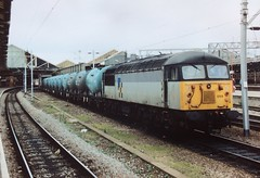 """56059 at Crewe awaiting a """"crew change on the Albright & Wilson PCA V Tanks (37686) Tags: 56059 crewe awaiting crew change albright wilson pca v tanks odd traction only ever remember rfd 37s then 47s possibly wagons were going for store didnt see them after 94"""