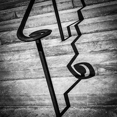 Broken Shadow (tim.perdue) Tags: broken shadow railing iron metal stone steps stairs sunlight shadows light contrast black white bw monochrome saint joseph cathedral columbus ohio instagram iphone iphoneography mobile square minimalism abstract
