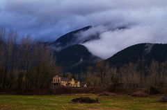 The General Store and Train Tracks (Kristian Francke) Tags: building old small mountain mountains bc canada british columbia outdoors landscape structure nature field farm fallow spring springtime cloud fog clouds wind harrison mills