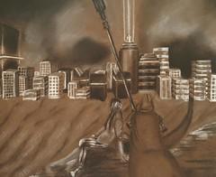 Some continuity (Purpleninja027) Tags: cyborg robot future drawing charcoal
