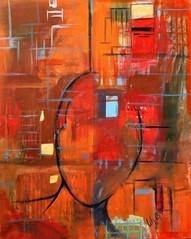 """""""o homem a cidade e a vidraça"""" (Lilian Goulart) Tags: liliangoulart lihg lih arte art acrílica pintura homem cidade man city canvas red orange saatchiart saatchi gallary"""