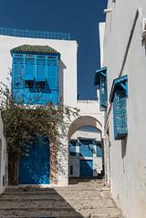 Dans les rues de Sidi Bou Saïd (Pascale Jaquet & Olivier Noaillon) Tags: bleu architecture ruelle moucharabieh kharraj médina sidibousaïd gouvernoratdetunis tunisie tn