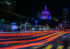 crossing turk street (pbo31) Tags: sanfrancisco nikon d810 color spring boury pbo31 city 2017 california night dark black lightstream traffic roadway motion vannessavenue civiccenter cathedralhill red cityhall dome purple march infinity turk crossing walk