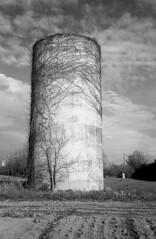 Kentucky silo, German camera, Soviet Glass (matthew.vortex) Tags: silo field georgetown kentucky contrast blackandwhite monochrome leica iiia jupiter12 3528 yellowfilter ilford fp4 rodinal manual sunnyf16 epsonv600