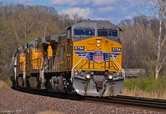 """Westbound Manifest in Muncie, KS (""""Righteous"""" Grant G.) Tags: up union pacific railroad railway ge power train trains west westbound manifest freight kansas city wide cab"""