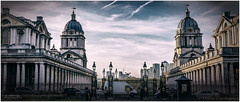 18.44  .... (kirby126) Tags: greenwich maritime museum london light lightroom pjlimages canon6d canon70200f4i sky building architecture evening time rows columns old royal fence railings road whitevanman england great britain history navy naval college