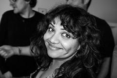 Sarita (Gary Kinsman) Tags: london bethnalgreen e2 eastlondon eastend 2017 bw blackwhite party houseparty fujix100t fujifilmx100t flash portrait portraiture pose posed smile