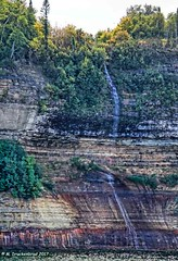 The Jasper Falls Waterfall, Pictured Rocks National Lakeshore (PhotosToArtByMike) Tags: jasperfalls picturedrocksnationallakeshore michigan mi waterfall picturedrocks upperpeninsulaofmichigan sandstonecliffs munising upperpeninsula up uppermichigan lakesuperior autumn autumnleaves rockycoastline