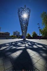 Modern sculpture (T Ξ Ξ J Ξ) Tags: newzealand christchurch fujifilm xt1 teeje fujinon1024mmf4 day chalice sculpture leaf patterns cone inverted shape spire