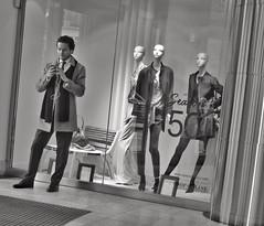 Realistic Mannequin (Douguerreotype) Tags: uk gb britain british england london city urban bw blackandwhite mono monochrome people street candid shop window clothes