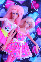 ☆Wink☆ (Vuffy VonHoof) Tags: pink blue two white yellow vintage hearts cool doll neon dolls song space duo awesome group pop 80s sing idol singer singers jem outer jerrica 1980s cosmic idols benton jemandtheholograms spacey holograms enka