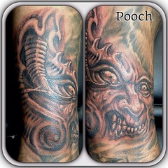 Freehand filler #blackandgrey #demon #monster #goblin #pooch_art @neotatmachines @fusionink_ca