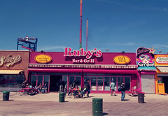 Ruby's Bar & Grill (Robert S. Photography) Tags: nyc people colour sign brooklyn coneyisland spring chairs tables boardwalk rubys canonpowershot 2014 bargrill a3400