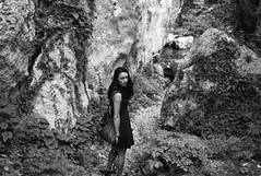 walking along valley floor (gorbot.) Tags: blackandwhite river syracuse sicily roberta necropolis lightroom rangefindercamera pantalica mmount leicam8 voigtlander28mmultronf19 vscofilm anapovalley