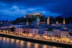 Salzburg (TIM BRUENING · PHOTOGRAPHY) Tags: city sky salzburg castle architecture river austria österreich illumination architektur bluehour schloss fluss festung langzeitbelichtung salzach longtimeexposure blauestunde hohensalzburg flickraward canon5dmarkii flickrtravelaward rememberthatmomentlevel1